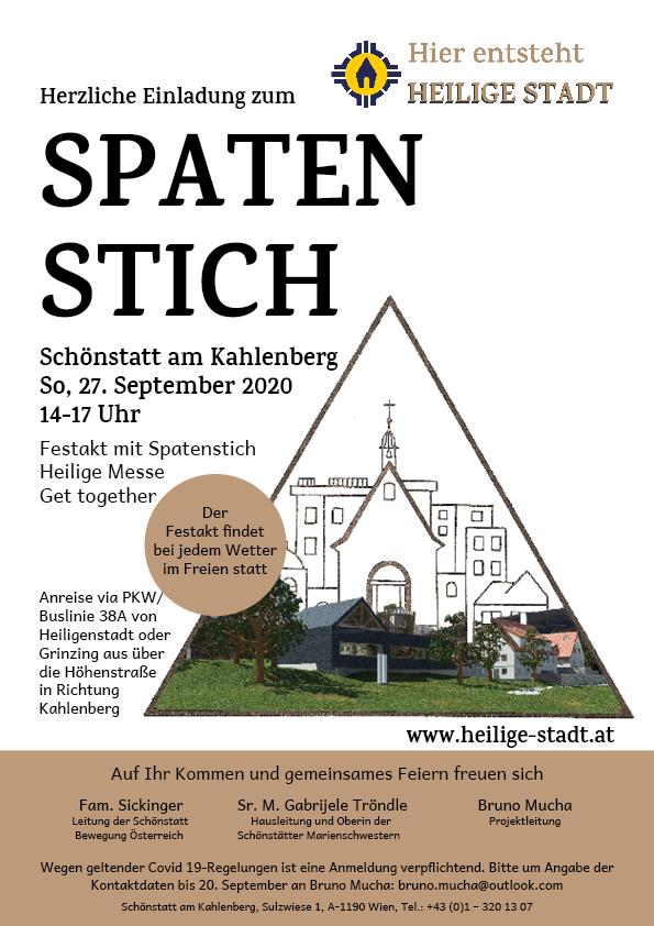 Einladung Spatenstich Heilige Stadt 27.9.2020